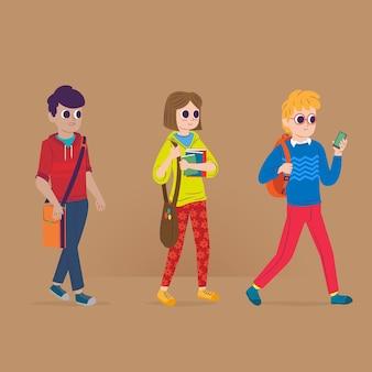 People going to university illustration concept