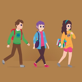 People going to university illustration