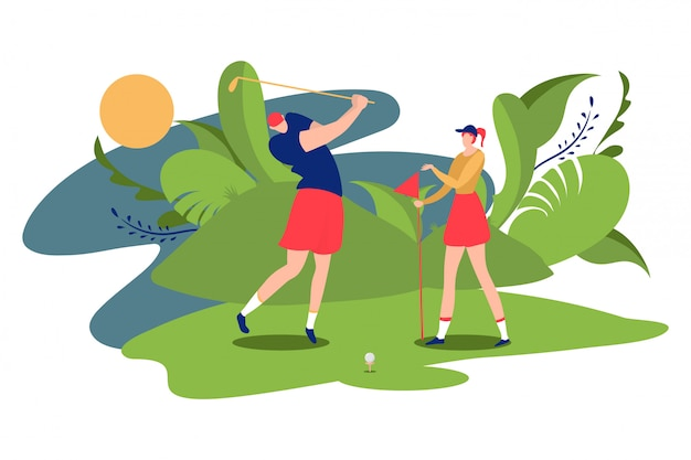 People golfer playing female male character golf course  on white, cartoon  illustration. ecological clean field.