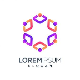 People gradient color logo design