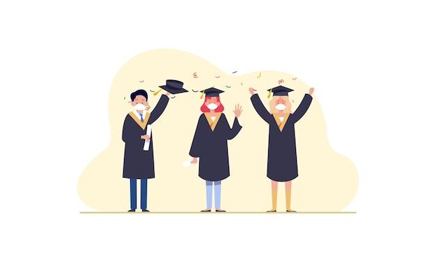 의료 마스크 일러스트를 착용하는 사람들 졸업생