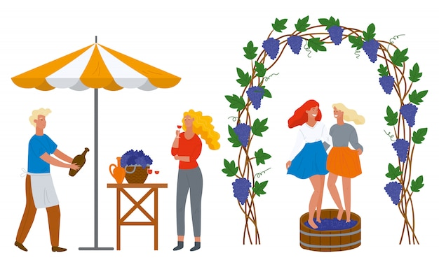 People and grapes, wine drink, beverage vector