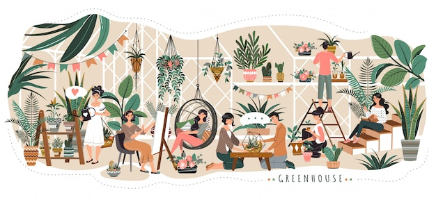 People in greenhouse coworking space for rest and work watering plants and talking with friends,  illustration