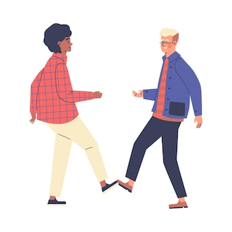 People greet each other contactlessly and safely vector illustration isolated