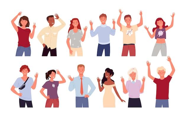 Люди приветствуют и машут рукой набор векторных иллюстраций. мультфильм разнообразный счастливый молодой человек женщина