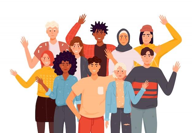 사람들이 인사말 제스처 평면 일러스트 세트. 다른 국가 대표들이 손을 흔들며. 남자, 평상복을 입은 여성들은 인사합니다.