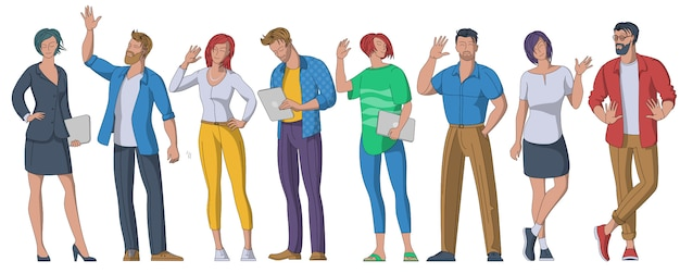 People greeting gesture flat illustrations set