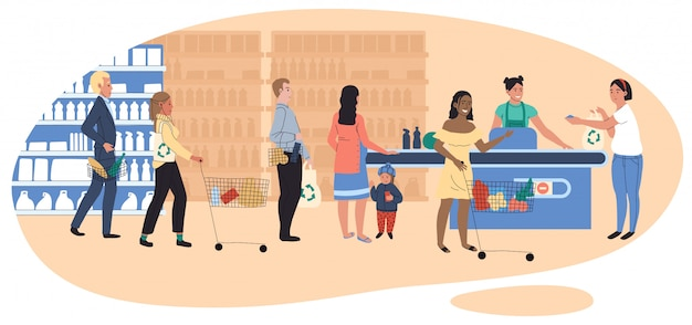 People in grocery store, line at cash desk, supermarket customers,  illustration