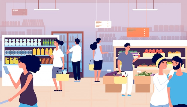 People in grocery store. persons buy food, vegetables in supermarket. shopping customers choosing products. cartoon vector concept