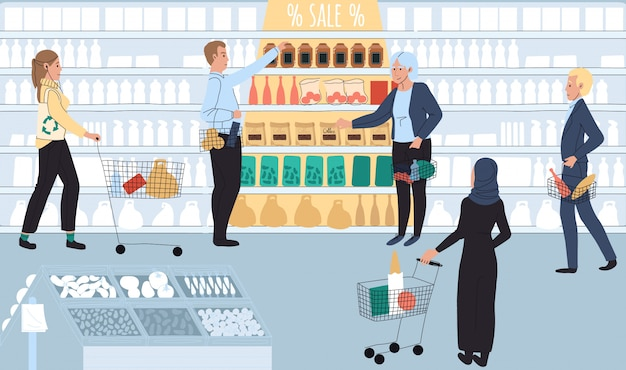 People in grocery store, sale at supermarket,  illustration
