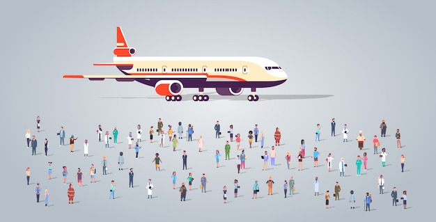 People group on airport terminal with aircraft flying plane different occupation employees mix race workers crowd passengers transportation concept horizontal full length flat