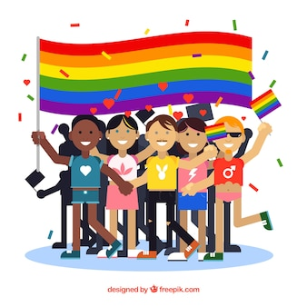 People group background with flag of pride day