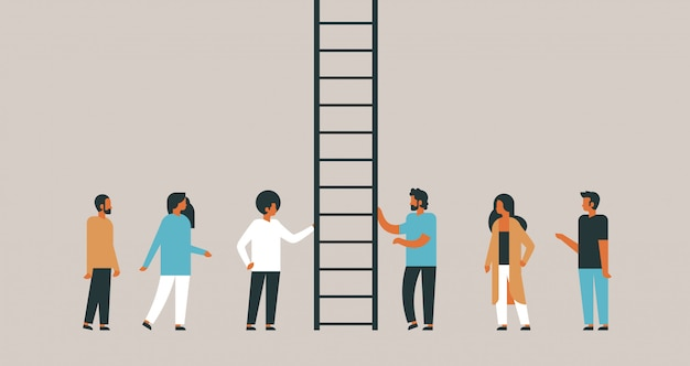 People group climbing career ladder way up new job opportunities teamwork progression concept flat horizontal