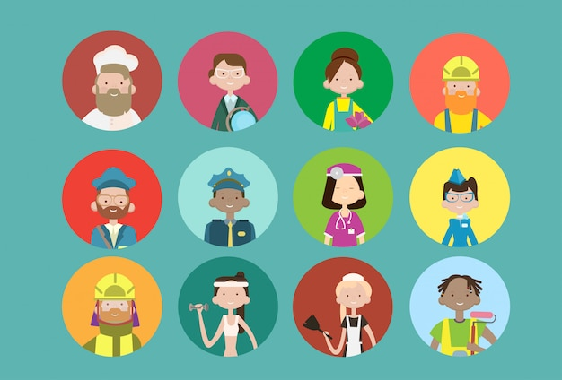 People group different occupation avatar set, employees mix race workers