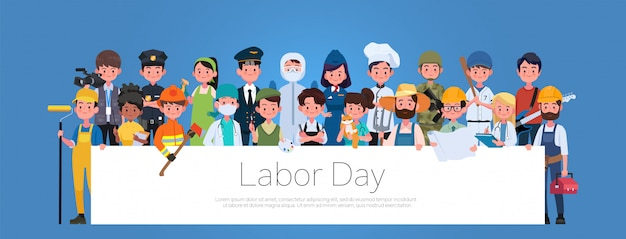 People group different occupation profession set, international labor day flat banner