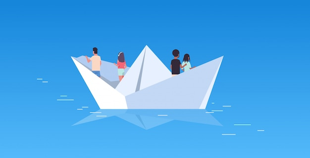 People group floating on paper boat rear view men women team traveling on sheep discovery concept mix race male female cartoon characters flat horizontal