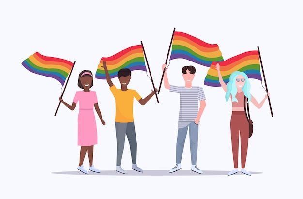 People group holding rainbow flag lgbt pride festival concept mix race gays lesbians celebrating love parade standing together full length flat horizontal