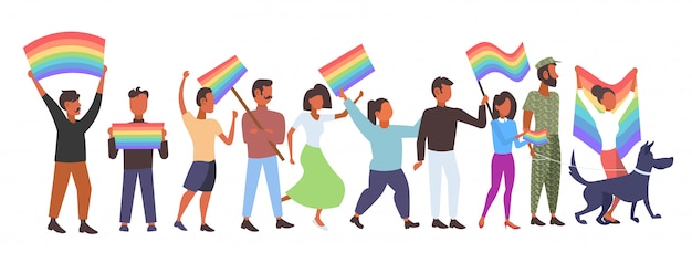 People group holding rainbow flag lgbt pride festival concept mix race gays lesbians celebrating love parade standing together full length  horizontal