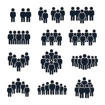 사람들이 그룹 아이콘. 비즈니스 사람, 팀 관리 및 사교 사람 실루엣 아이콘 세트