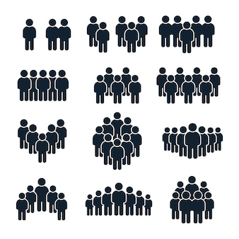 People group icon. business person, team management and socializing persons silhouette icons  set