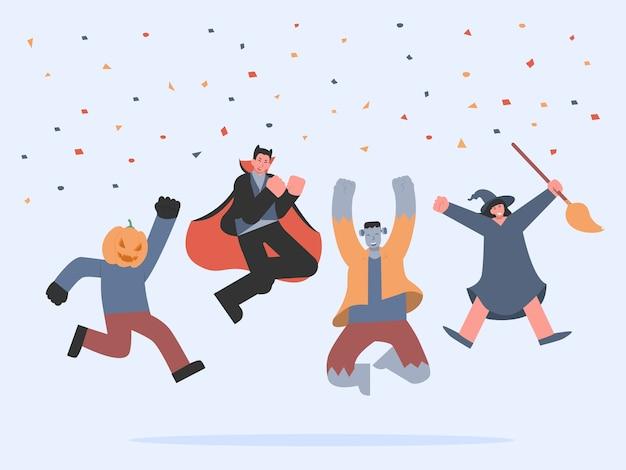 幸せな休日のお祝いのためのリボンと空中でジャンプするハロウィーンの派手な服の人々のグループ。吸血鬼、フランケンシュタイン、魔女、カボチャのモンスター、チームのお祝いアクション。