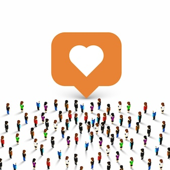 People group like frame heart on the white background. vector illustration