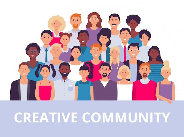 Группа людей. многонациональное сообщество портрет, разнообразные взрослые люди и офисные работники команды иллюстрации