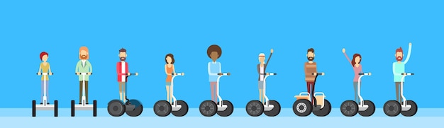 People group ride segway electric scooter