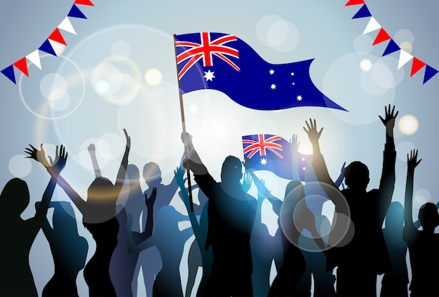 People group silhouette crowd hold flag  australia day party