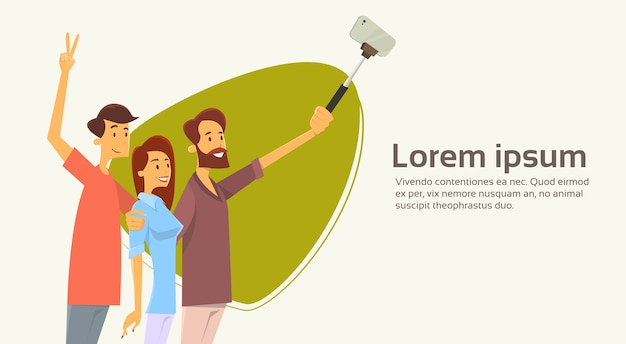 People group taking selfie photo on smart phone