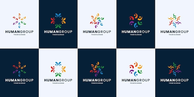 People group, team work community logo design collection