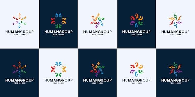 人々のグループ、チームワークコミュニティのロゴデザインコレクション
