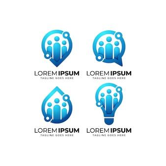 Набор дизайн логотипа группы людей
