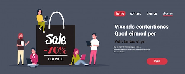 People group using laptop e-shopping around shopping bag with big sale sign black friday holiday promotion discount