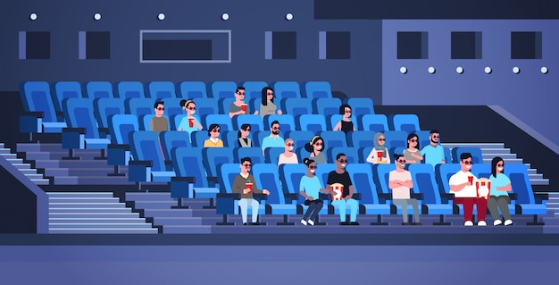 People group wearing 3d glasses watching movie sitting in cinema with popcorn and cola mix race men women having fun laughing at new comedy flat full length horizontal