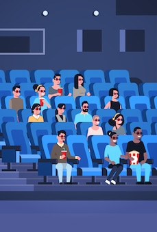 People group wearing 3d glasses watching movie sitting in cinema with popcorn and cola mix race men women having fun laughing at new comedy flat full length vertical
