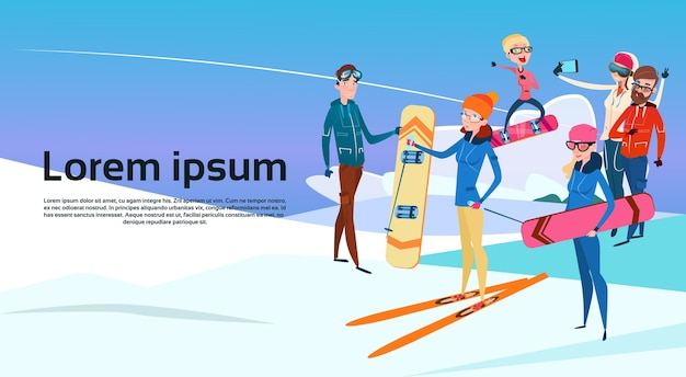 People group with ski snowboard winter