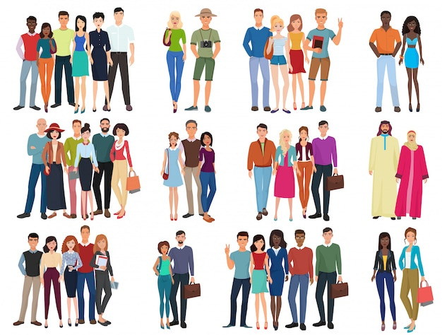People groups and couples collection. diverse cartoon humans in office and casual outfits clothes, young students   illustration