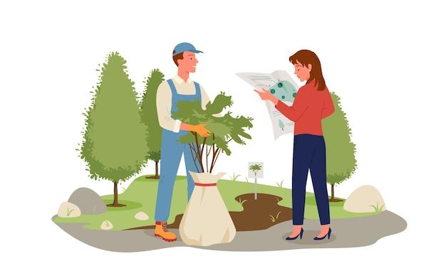 사람들은 숲, 공원 또는 정원 농업 작업에서 나무를 자랍니다. 만화 작업자 캐릭터 심기