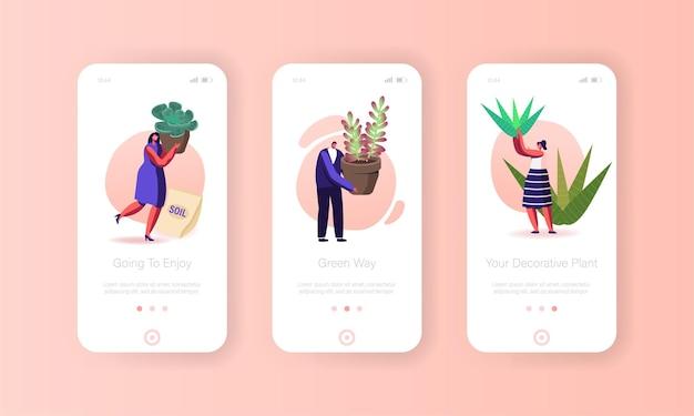 테라리움 모바일 앱 페이지 화면 템플릿에서 장식용 식물을 재배하는 사람들.
