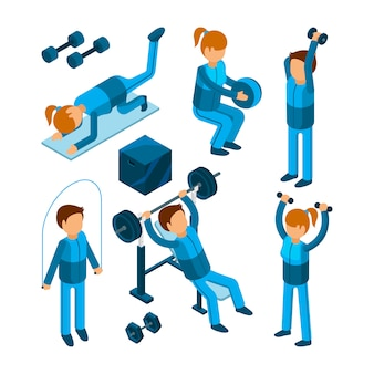People in gym, sport characters making cardio strength body pump exercises in fitness center