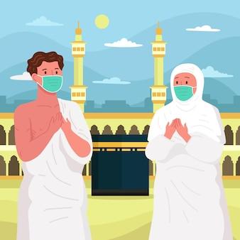 Persone nell'illustrazione di pellegrinaggio hajj con maschera facciale