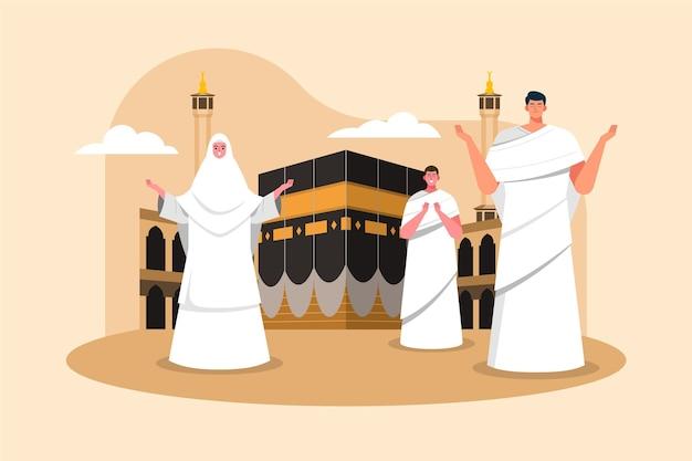 Persone nell'illustrazione di pellegrinaggio hajj