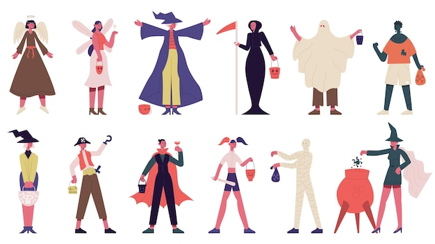People in halloween costumes trick or treating spooky characters vector illustration set