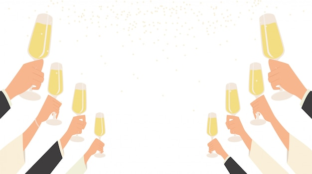 People hand raise champagne glasses to celebrating party