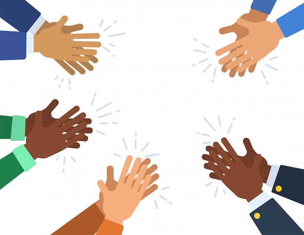 People hands clapping ovation. many different cartoon human hands applaud. vector flat illustration.