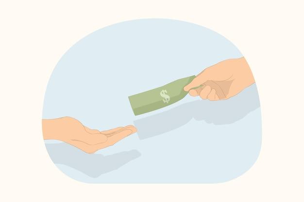 Люди руки дают и принимают кучу денег наличной валюты, делая взятку или давая концепцию заработной платы