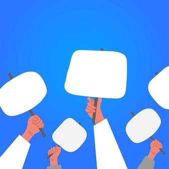 항의 데모에 배너와 플래 카드를 들고 사람들 손에.