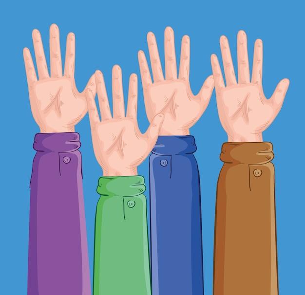Люди руки людей вверх дизайн иконок