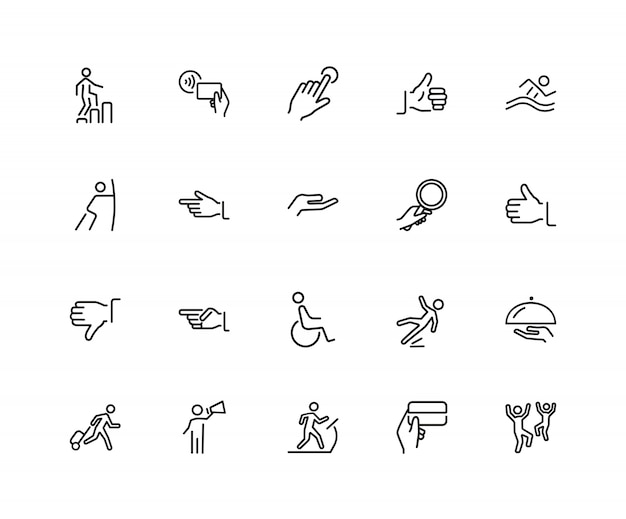 People and hands icons. set of twenty line icons. approval, gym, disabled man.
